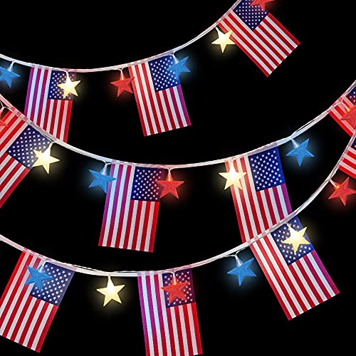 Red White and Blue Lights Battery Operated Fourth of July Lights, 10ft 20 Led Star Patriotic Lights String with American Flags Banner, Memorial Day 4th of July Decorations for Home, Window, Outdoor