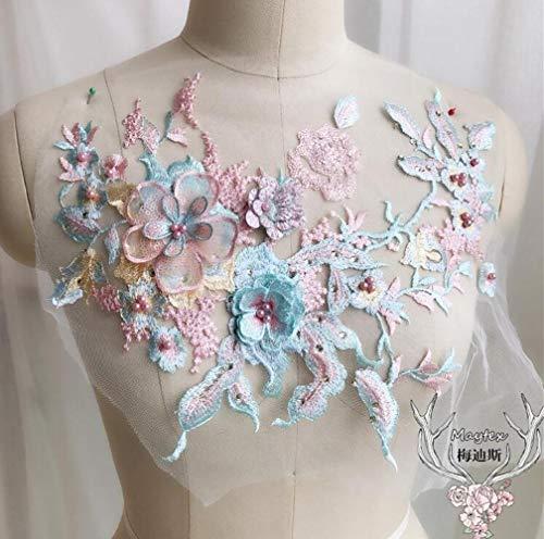 BTKNOO 1 Stück 33 * 28cm 3D Flower Pink Blue Mesh Bestickte Perle Perlen Spitze Applique Pailletten DIY Lace Fabric Trim