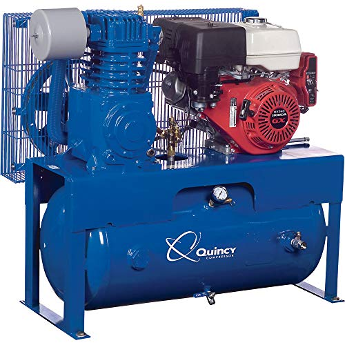 Quincy QT-7.5 Splash Lubricated Reciprocating Air Compressor - 13 HP, Honda Gas Engine, 30-Gallon...