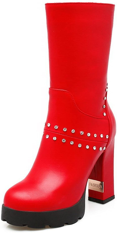 AllhqFashion Women's Zipper Round Closed Toe High-Heels PU Low-Top Boots