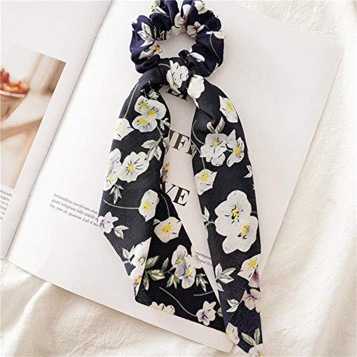 Fijnere vrouwen lint elastische haarbanden print stippen boog sjaal haar rubberen touwen meisjes haaraccessoires, marine bloem