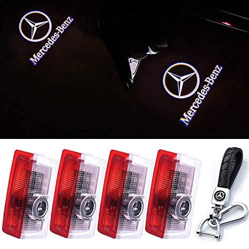 4 Stück Autotür Led Logo Licht, Auto Signalleuchte Projektor Licht Geisterschatten Willkommenslichter Symbol Courtesy Lights Bodenleuchte Auto Kompatibel mit Für Mercedes-Benz (4Pcs+Keychain)