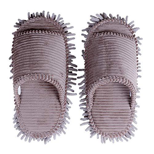 BGROESTWB Zapatillas para Mujer Zapatillas de Piso de la casa extraíbles y Lavables para el Suelo de Silencio Limpieza de Zapatillas de trapeador Limpieza de Barrido (Color : Gray, Size : Medium)