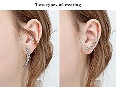 Elensan 7 Crystals Ear Cuffs Hoop Climber S925 Sterling Silver Earrings Hypoallergenic Earring #5