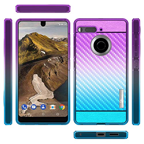 Essential Phone Case, NageBee Carbon Fiber [Frost Clear] Lightweight Ultra Slim Soft TPU Protective Cover Case for Essential Phone PH-1 (Purple/Blue)