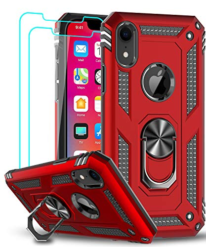 LeYi Case for Apple iPhone XR Cell Phone Case with Tempered Glass Screen Protector, Ring Kickstand for Men Military Bumper Hard TPU Shockproof Full Body Silicone Protective Cover iPhone XR Red