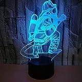 Lámpara de ilusión de luz nocturna 3D Firemen, lámpara de mesita de noche de 7 colores Regalos de Navidad y cumpleaños para niños Luz de noche LED con control remoto