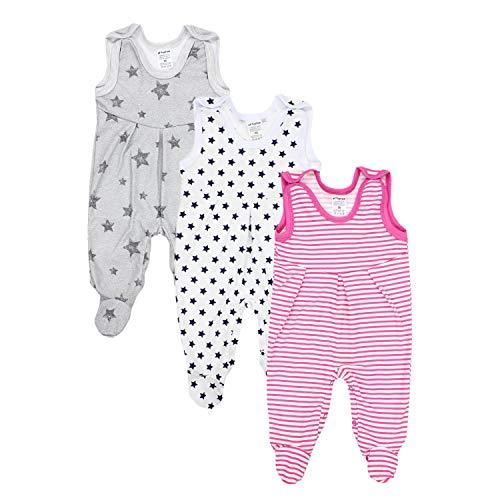 TupTam Baby Mädchen Strampler mit Fuß 3er Pack, Farbe: Farbenmix 2, Größe: 56