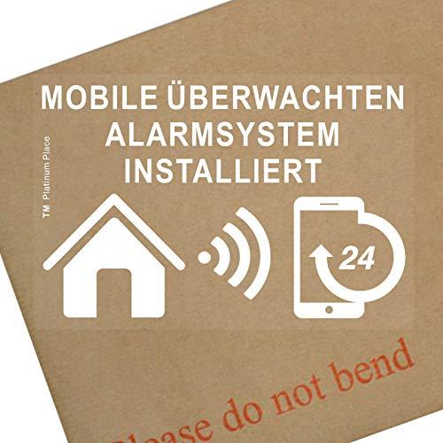 Platina Plaats 6 x Mobiel Überwachten Alarmsysteem Installiert-Fensteraufkleber-Sicherheit Warnung Zeichen