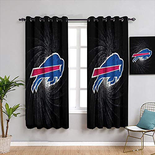 American Tootball Team Curtains for Living Room Buf-falo Bil-ls Solid Grommet Blackout Curtains Resistant Polyester Fabric Blackout Window Curtain W55 x L45