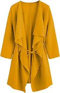 Howely Women's Tie Knot Solid Color Light Weight Open Front Jackets Cardigan