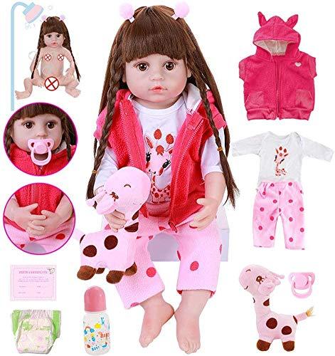 22 Zoll / 55 cm Sweet Silikon Vinylkörper Reborn Baby Puppen mit langem braunem Haar Kleinkind Mädchen Puppe,Blaue Augen,Typ D.