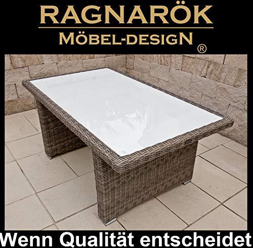 Ragnarök -Möbeldesign PolyRattan - DEUTSCHE Marke - EIGNENE Produktion - 8 Jahre GARANTIE auf UV-Beständigkeit Gartenmöbel Tisch Esstisch Glasplatte Naturfarben Rundrattan Design