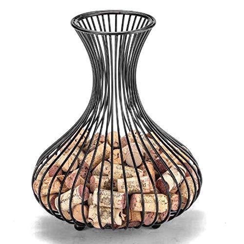 Galapara Recipiente de Corcho para Botellas de Vino, contenedor de Corcho de Vino, Metal Tapón De Vino Cestas De Almacenamiento para decoración del hogar, Bar, Manualidades, Bronce