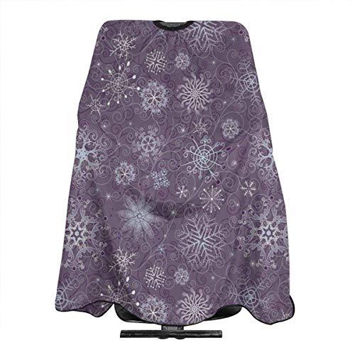 Miedhki Capa de corte de pelo de flores de Navidad copos de nieve remolinos violetas corte de pelo vestido profesional de saln de corte de peluquera peluquera delantal ligero