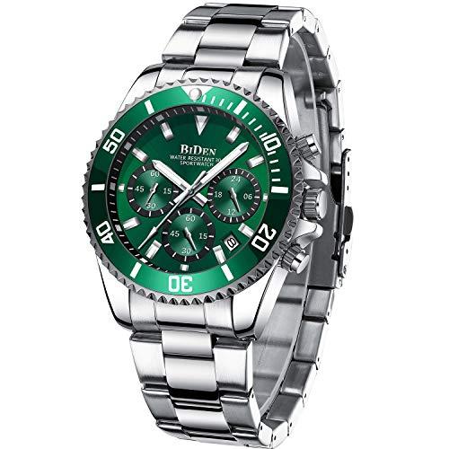 Herren Uhr Männer Chronographen Grün Edelstahl Wasserdicht Designer Armbanduhr Herren Militär Großes Leuchtende Analog Datum Business
