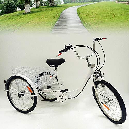 Bicicletta triciclo per adulti, 24 , 6 marce, 3 ruote, per anziani, con cestino e lampada