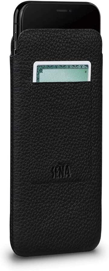 Sena UltraSlim Leather Wallet Sleeve Cell Phone Case for iPhone Xs Max - Wireless Charging Compatible, Black