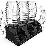 SODACLEAN® Lot de 3 porte-bouteilles en plastique brillant | Égouttoir pour bouteilles SodaStream Aarke Emil avec support de couvercle | Égouttoir Crystal Easy Power (noir brillant)