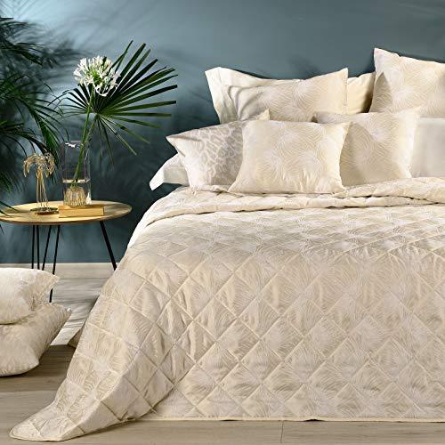 Caleffi Tagesdecke für Doppelbett, gesteppt, Stern aus Satin, Jacquard, elfenbeinfarben