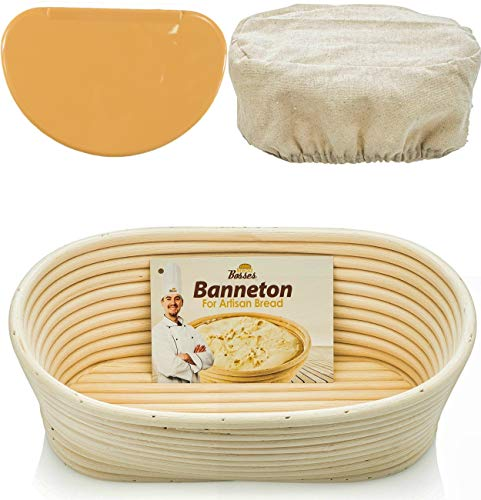 Oval Bread Banneton Proofing Basket - 10 Inch Baskets Sourdough Brotform Proofing Basket Set Banaton Towel for Baking Oval Proofing for Sourdough Bread Making Starter Jar Kit - Great As A Gift