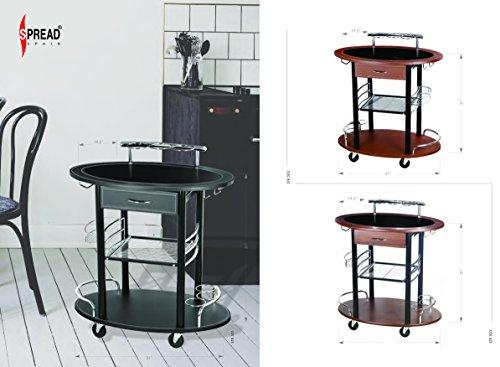 Spread Spain Bar/Serving/Kitchen Leather Black Trolley