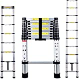 Multibao 2.9m 9.5Ft Multi-Purpose Aluminium Telescopic Ladder Extension Extendable Step Folding 330 pound/150 kg Capacity Black 10 Steps