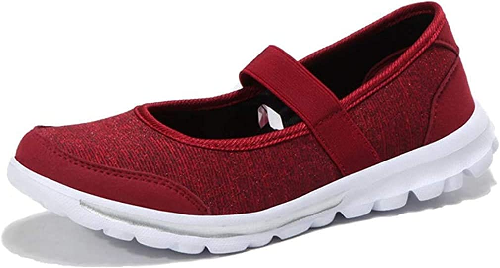 Women's Slip On Mesh Walking Shoes Lightweight Fitness Toning Athletic Mary Jane Sneakers