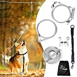 Dog Runner for Yard, Dog Trolley System-100ft Aerial Dog Tie Out Run Cable with 10ft Pulley Runner Lead and Bungee Dog Leash Up to 125lbs for Medium Large Dogs, Dog Run Chains for Outside