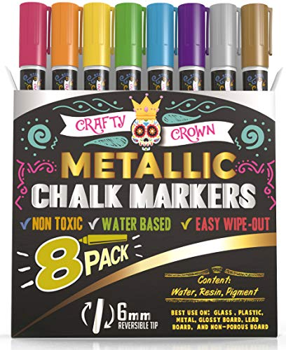 Liquid Chalk Markers - Dry Erase Marker Pens - Chalk Markers for Chalkboards, Signs, Windows, Blackboard, Glass - Reversible Tip (8 Pack) - 24 Chalkboard Labels Included (Metallic, 6mm)