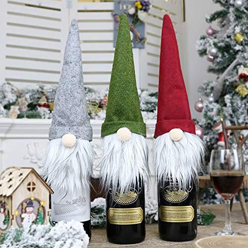 Bongba - Funda de botella de vino de Navidad, reutilizable, simple, para envolver botellas, sin rostro, para hombre viejo o sin rostro, bolsa para botellas de champán, decoración de boda, juego de 3