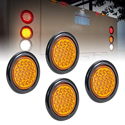 """4pc 4"""" Round Amber 24 LED Trailer Tail Lights [DOT certified] [Grommet & Plug Included ] [IP67 Waterproof] Park Turn Trailer Lights for RV Trucks"""