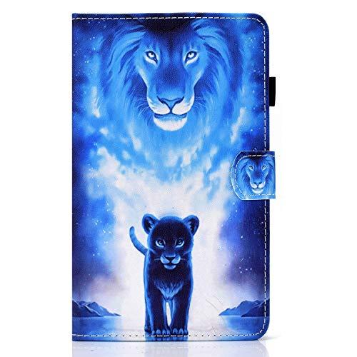 Funda Lindo Tablet para Kindle fire HD10 2015/17/19 Delgada y Ligera Carcasa con Función de Soporte y Auto-Reposo,Funda de Cuero con Cierre Magnético Carcasa para Kindle fire HD10 2015/17/19,león