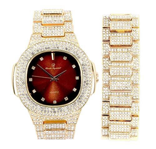 Blinged Out 8475BM - Reloj de pulsera para hombre con caja rectangular de metal