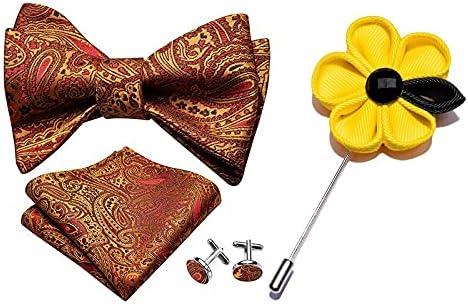 Bow tie Handkerchief Cufflinks Three-Piece Suit Men Bowtie Red Self-Tied Bows Paisley Burgundy Silk Tie Set Pocket Square Cufflinks Boutonniere (Color : LH-1018-XH-209)