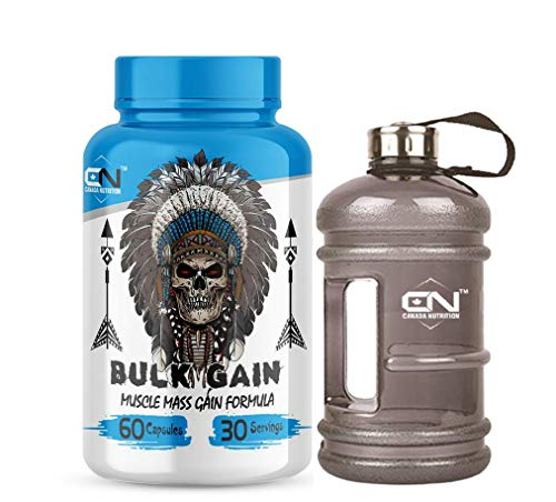 Canada Nutrition Bulk Gain Mass & Weight Gainer Capsule for Fast Weight & Muscle Gain, Daily Muscle Building Weight Lifters Supplement for Muscle Growth, Stamina & Strength, For Men & Women - 60 Capsules | Free Gallon Shaker Bottle