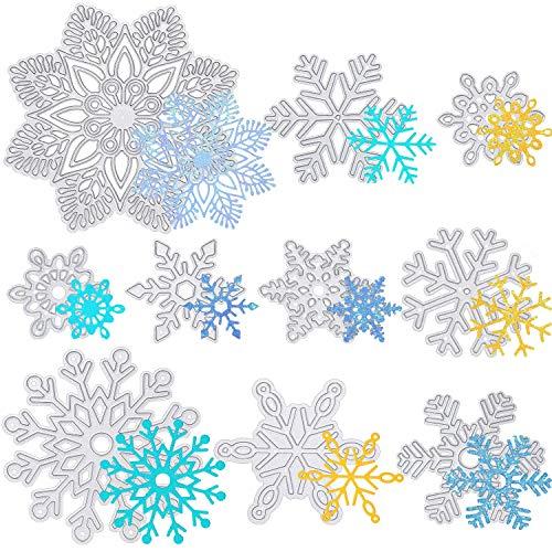 Set de 10 Troqueles de Corte de Copo de Nieve en Diferentes Tamaños Grandes Plantillas de Corte de Metal Plantilla de Copo de Nieve para Navidad Invierno Tarjeta de Álbum de Recortes Regalos