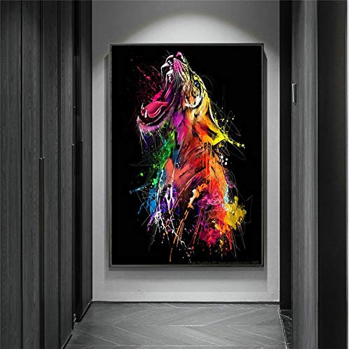 Colorido tigre Graffiti arte lienzo pintura carteles de animales abstractos e impresiones imágenes artísticas de pared para la decoración del hogar de la sala de estar 50x70 CM (sin marco)