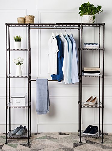 "AmazonBasics Expandable Metal Hanging Storage Organizer Rack Wardrobe with Shelves, 14""-63"