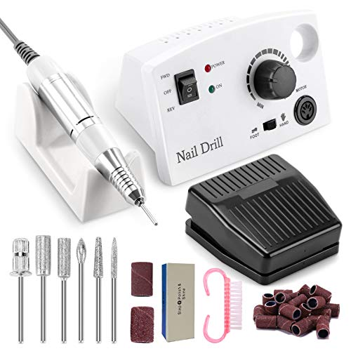Professional Nail Drill Machine 30000RPM, Electric Nail Drill E-file for Acrylic Nails Gel Nails Shaping, Buffing, Removing, Electric Nail File Kit for Salon/Home Use (White)