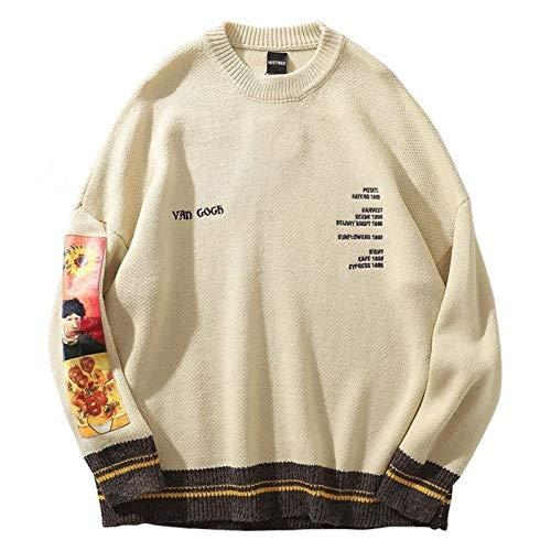 Hcxbb-1 Maglione da uomo Hip Hop Pullover Streetwear Van Gogh Pittura Ricamo lavorato a maglia retrò vintage autunno autunno maglioni maglioni da uomo (Color : Khaki, Size : M)