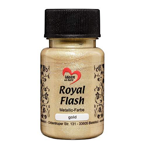 Royal Flash, Acryl-Farbe, metallic, mit feinsten Glitzerpartikeln, 50 ml (gold)