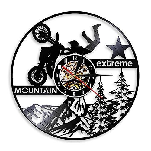 ROMK Motocross Reloj de Pared para Bicicleta de montaña Deportes Extremos Motocicletas Moto Disco de Vinilo Reloj de Pared Dirt Bike Arte de Pared Decorativo Relojes de Pared