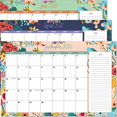 "Desk Calendar 2020 11"" x 17""- 18 Month Floral Desktop Wall Calendar Pad with Notes Section for Easy Planning - January 2020 - June 2021"