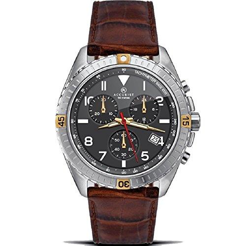 Accurist 7142- Reloj de pulsera con cronógrafo, esfera negra, correa de piel color marrón, para hombre