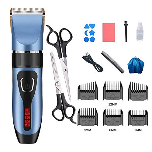 RVS Hair Trimmers for mannen, Professional USB oplaadbare tondeuse, haar knippen Clipper Powered Grooming Kit Gold 19x4.5cm (7.5x1.8inch) HRSS (Color : Blue, Size : 19x4.5cm(7.5x1.8inch))