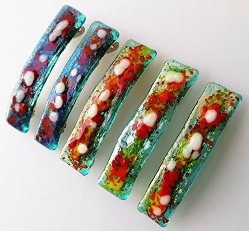 5 Hair Barrettes Fused Glass Mosaic Colorful Handmade Hair Clip High quality finish Beautiful hair jewelry