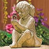 DTDD Esculturas Estatua de jardín de luciérnagas solares, Niño...