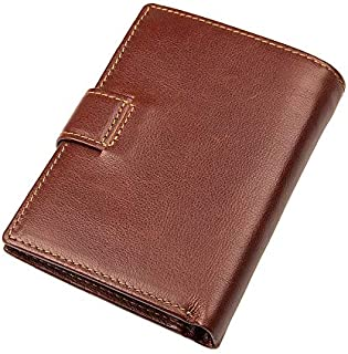 LDUNDUN-BAG, 2019 Retro RFID Function Short Wallet with Buckle Men's Wallet (Color : Brown, Size : S)