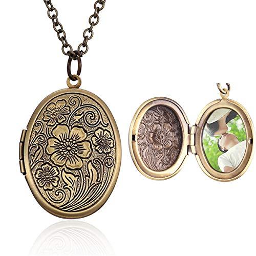 Hsumonre - collana con ciondolo a forma di cuore, ovale, con medaglione in bronzo anticato intagliato e Rame, colore: Ovale., cod. HSUMN2018120701